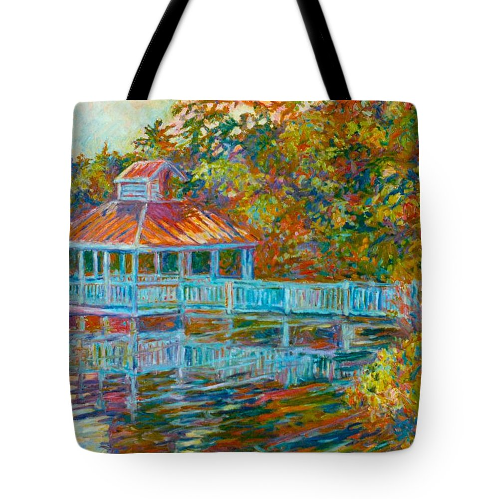 Mountain Lake Tote Bag featuring the painting Boathouse At Mountain Lake by Kendall Kessler