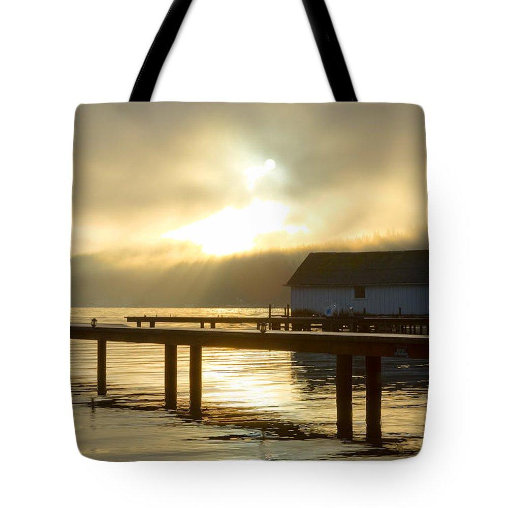 Northwestern Washington Tote Bag featuring the photograph Boathouse Daybreak by Idaho Scenic Images Linda Lantzy