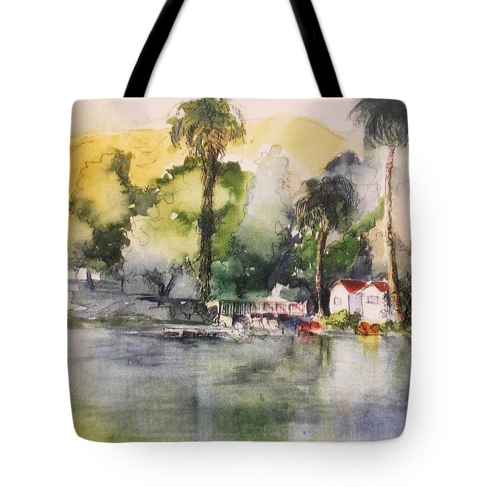Waterscape Tote Bag featuring the mixed media Boathouse by Iva Fendrick