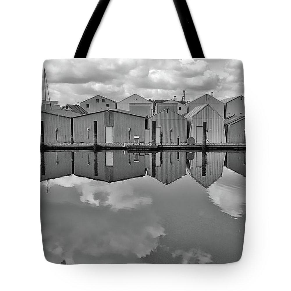 Digital Art Tote Bag featuring the photograph Boathouse Reflections by David Coleman