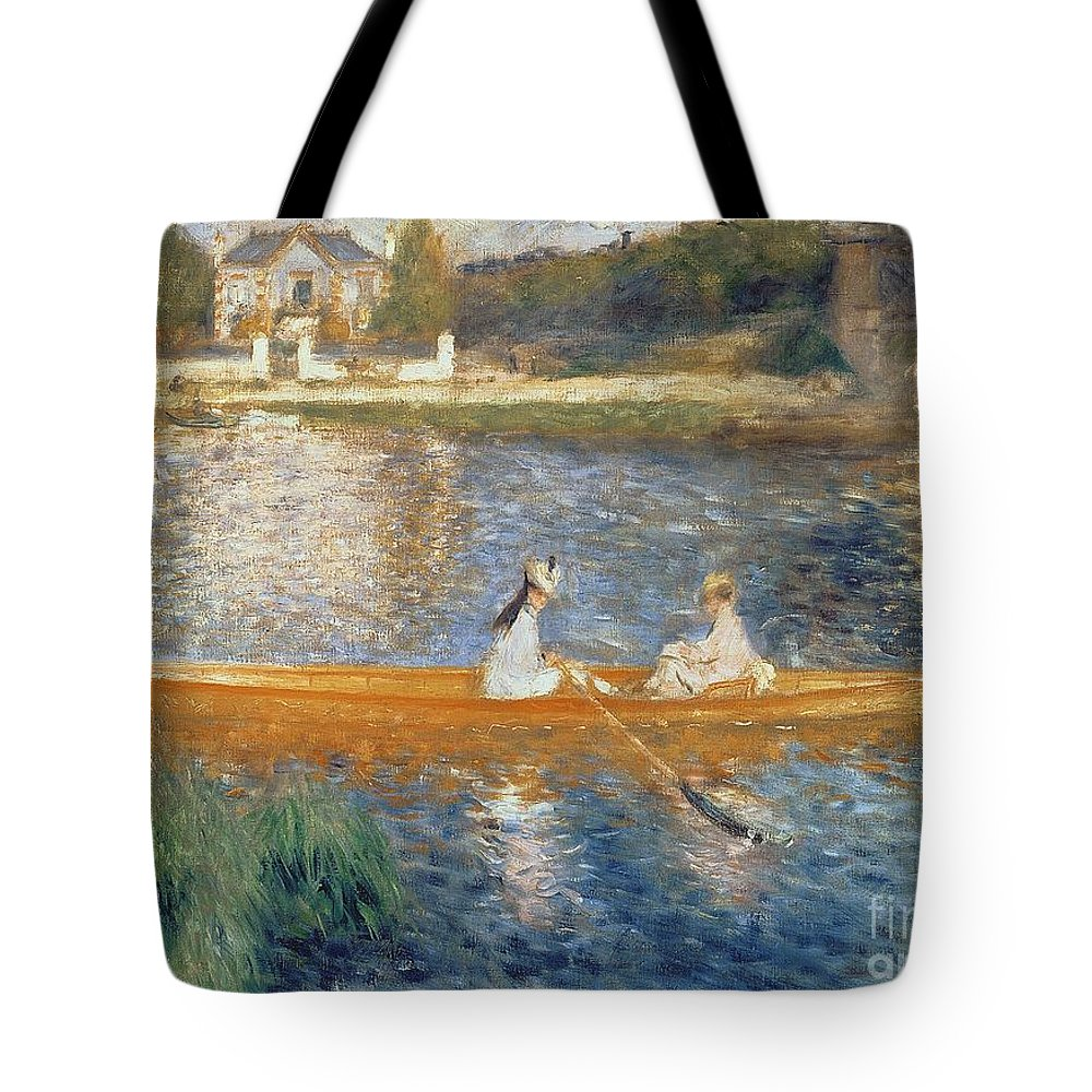 Boating On The Seine Tote Bag featuring the painting Boating On The Seine by Pierre Auguste Renoir