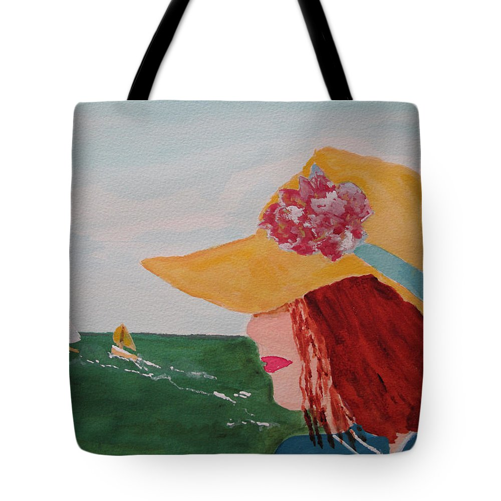 Hat Tote Bag featuring the painting Boating by Sandy McIntire