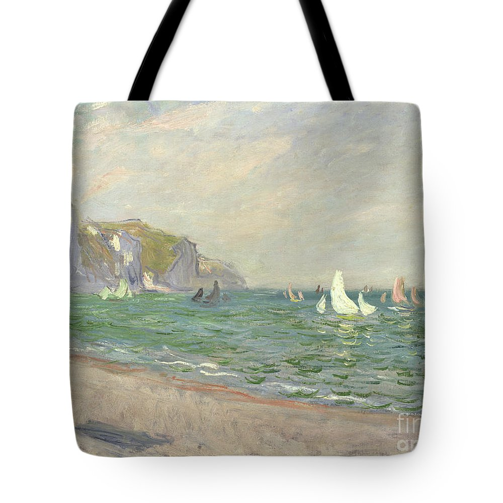 Boats Tote Bag featuring the painting Boats Below The Cliffs At Pourville by Claude Monet
