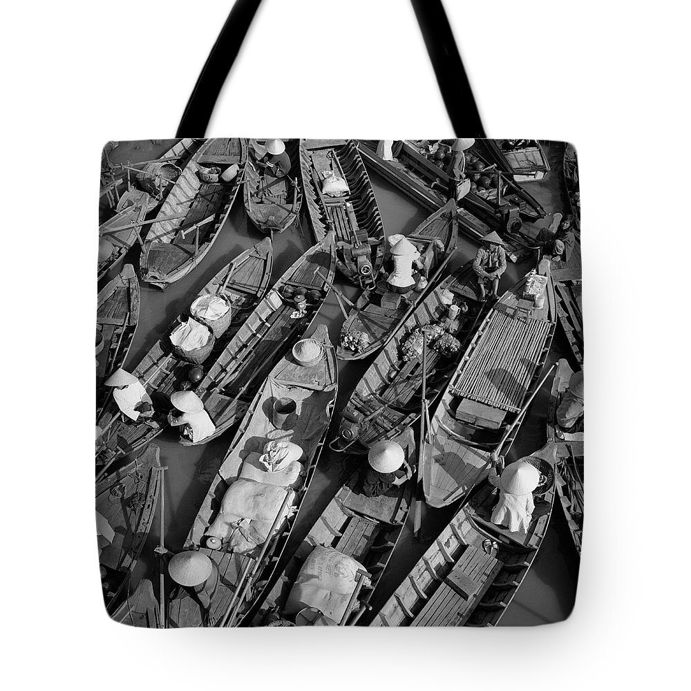 Aerial Image Tote Bag featuring the photograph Boats, Hoi An, Vietnam by Huy Lam