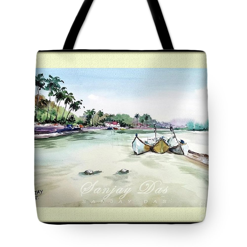 Watercolor Tote Bag featuring the painting Boats In Beach by Sanjay Das