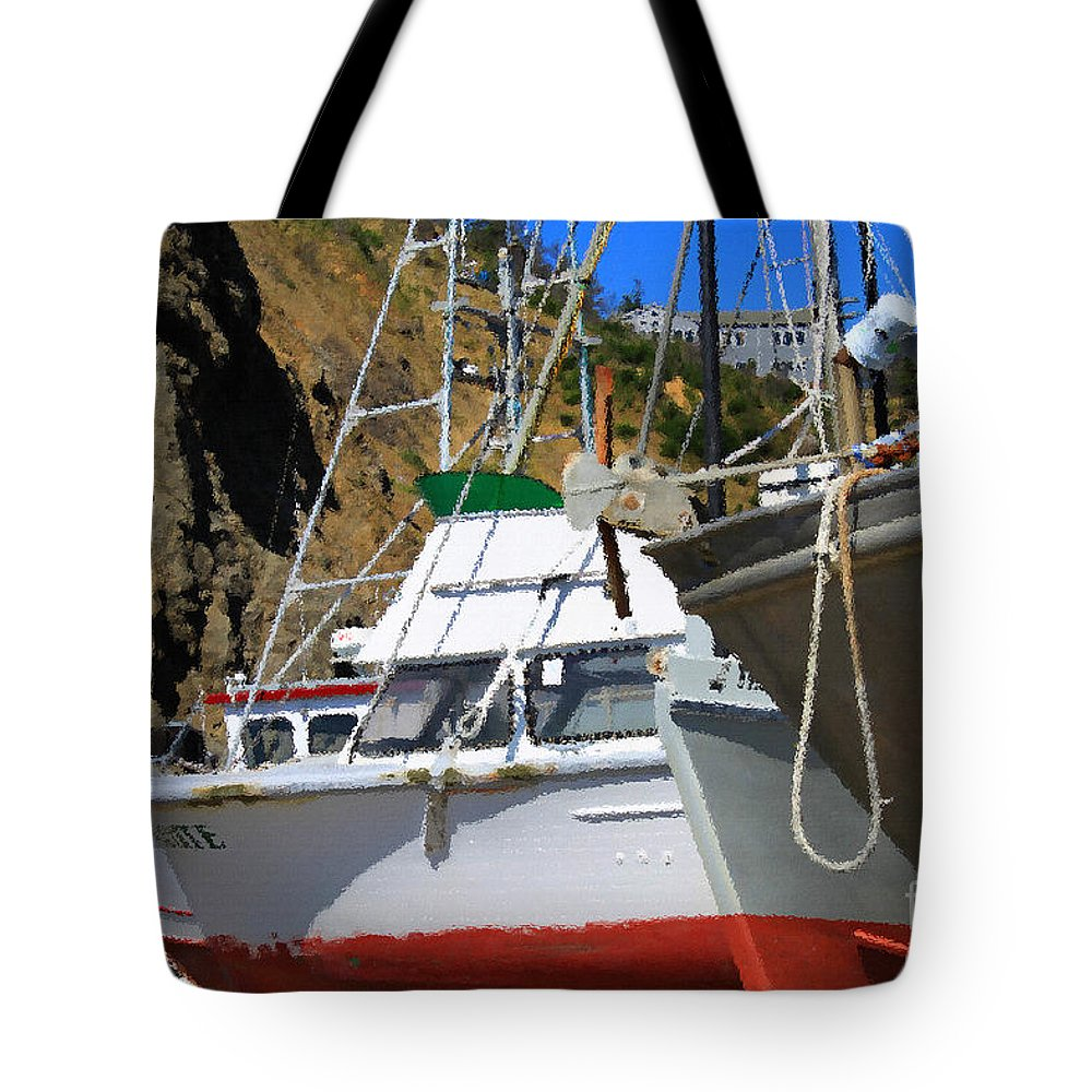 Anchor Tote Bag featuring the photograph Boats In Drydock by James Eddy