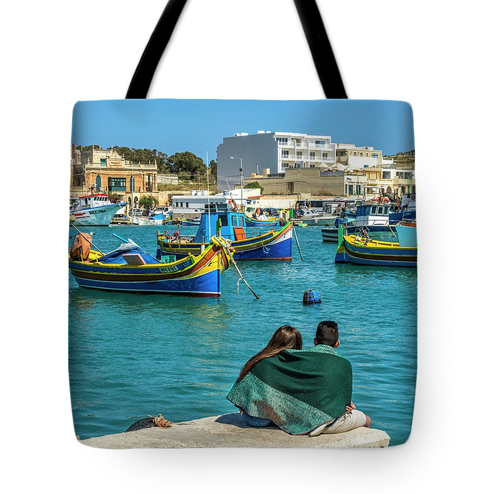 Mediterranean Tote Bag featuring the digital art Boats Lovers by Tsafreer Bernstein