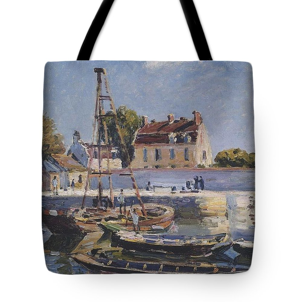 Boats Tote Bag featuring the painting Boats by MotionAge Designs