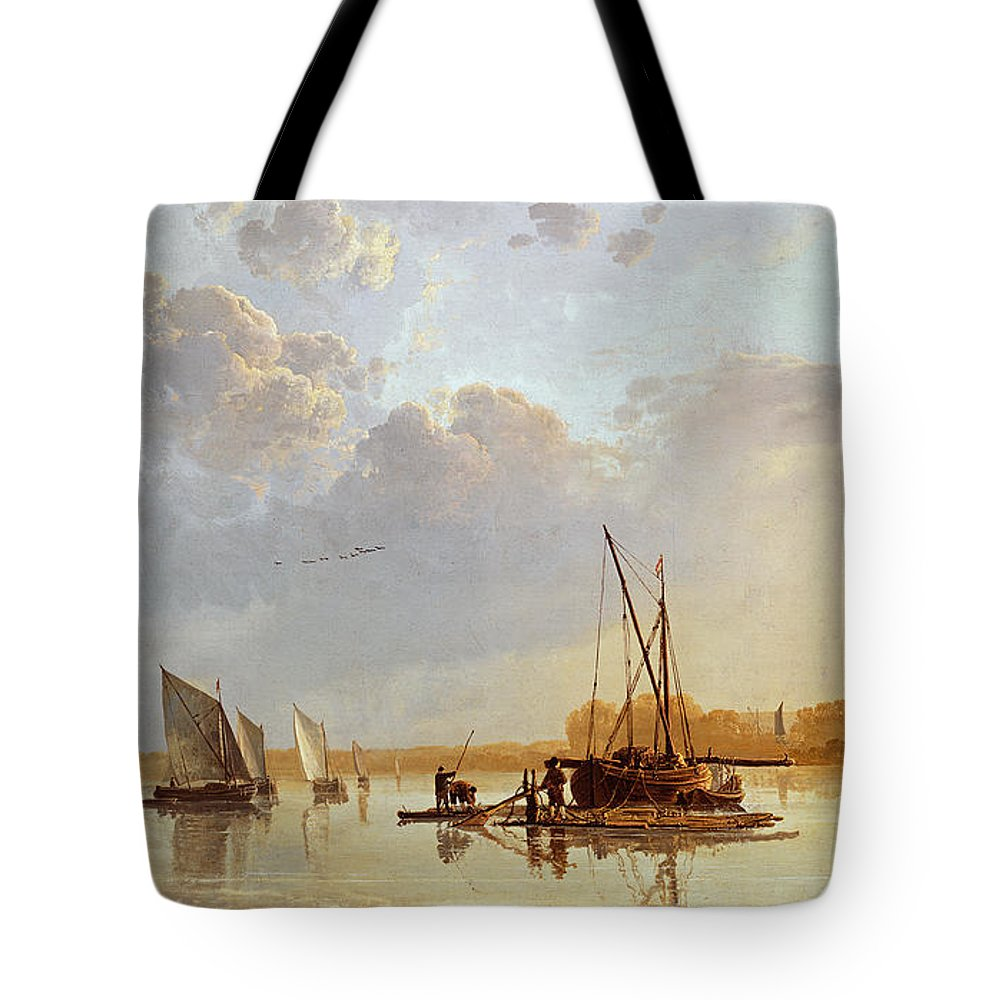 Boats On A River Tote Bag featuring the painting Boats On A River by Aelbert Cuyp