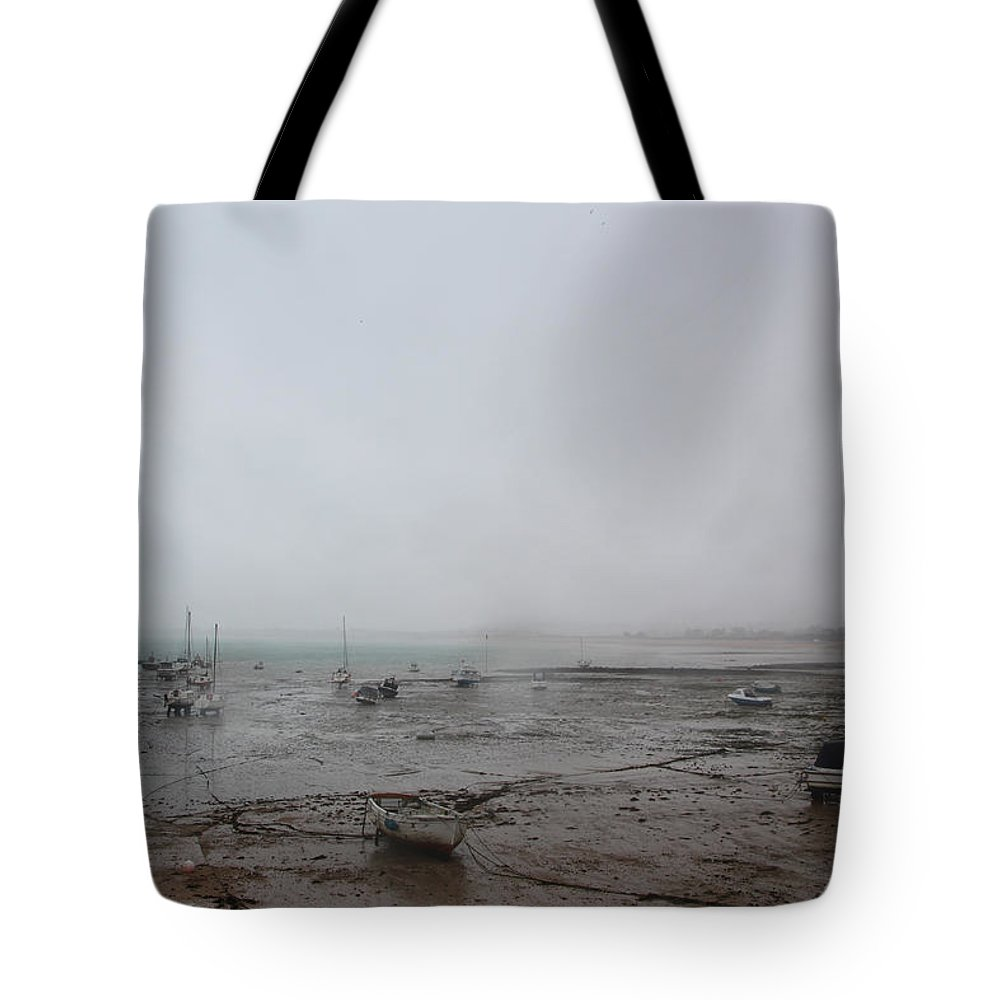Boats Tote Bag featuring the photograph Boats With Light Rain At Low Tide by Tom Conway