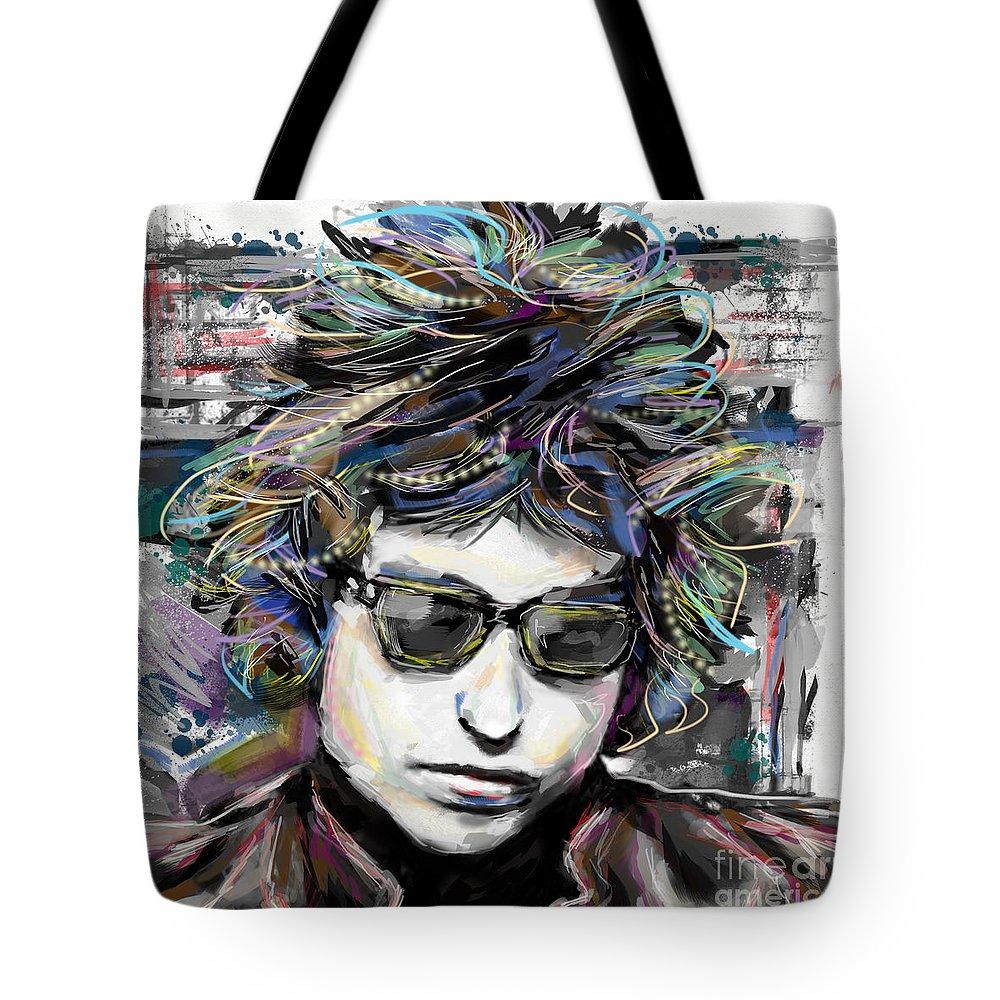 Bob Dylan Tote Bag featuring the mixed media Bob Dylan Art by Ryan Rock Artist