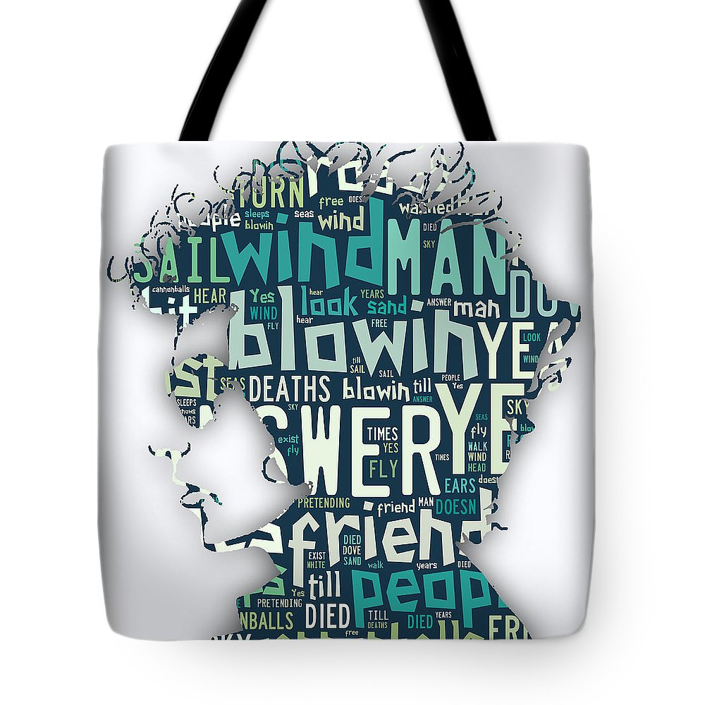 Bob Dylan Tote Bag featuring the mixed media Bob Dylan Blowin In The Wind by Marvin Blaine