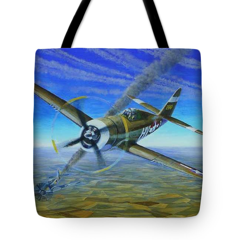 Bob Johnsons P-47 On October 10 Tote Bag featuring the painting Bob Johnsons Thunderbolt by Scott Robertson