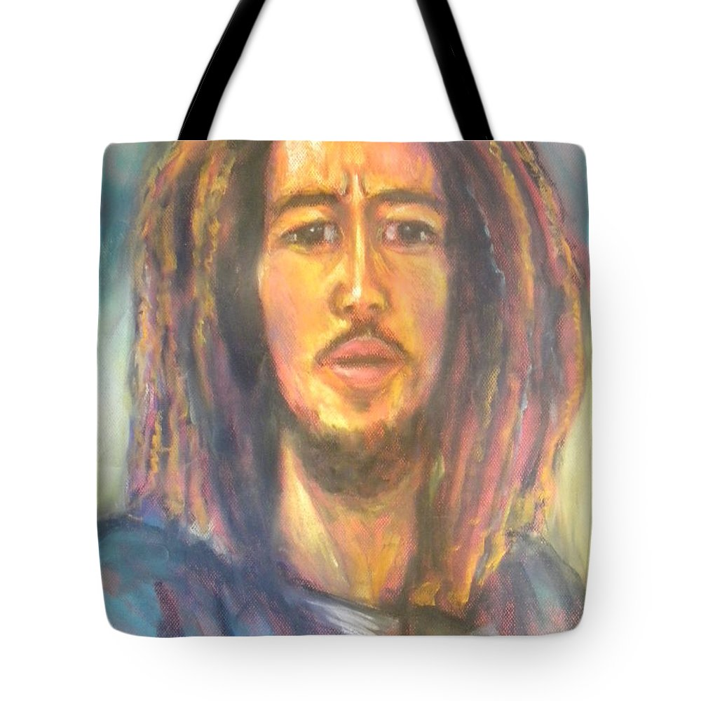 Portrait Tote Bag featuring the drawing Bob Marley II by Jan Gilmore