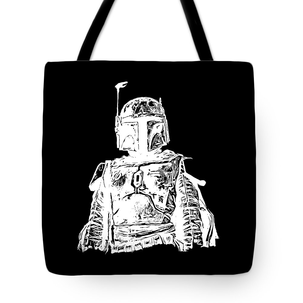 Star Wars Tote Bag featuring the digital art Boba Fett Tee by Edward Fielding