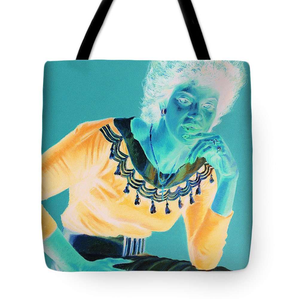 Portrait Tote Bag featuring the painting Bobbi by Jean Hildebrant