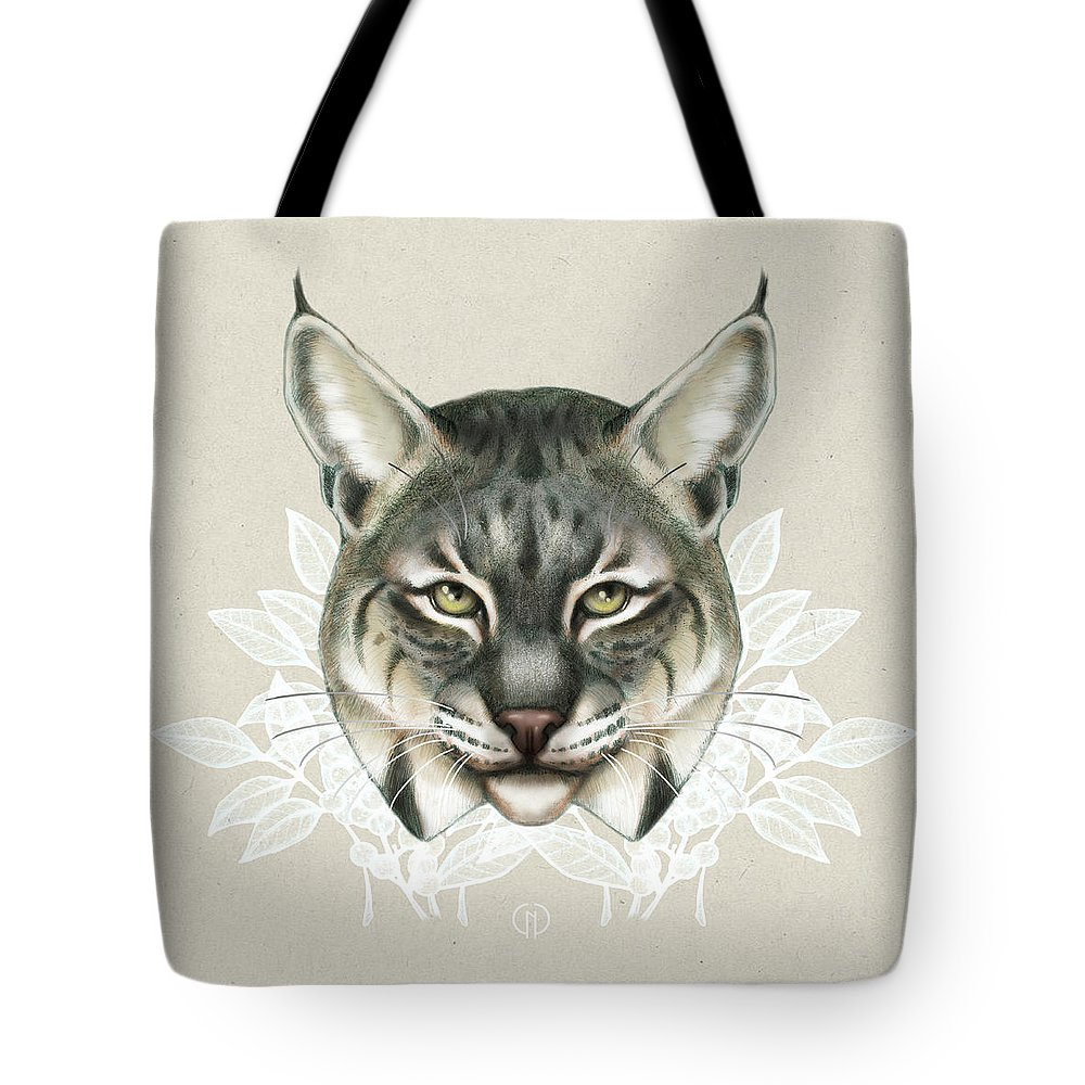 Bobcat Tote Bag featuring the mixed media Bobcat by Catherine Noel