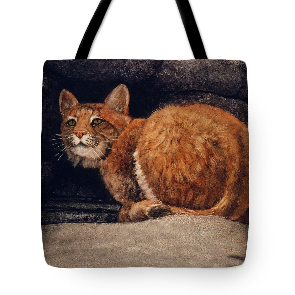 Wildlife Tote Bag featuring the painting Bobcat On Ledge by Frank Wilson