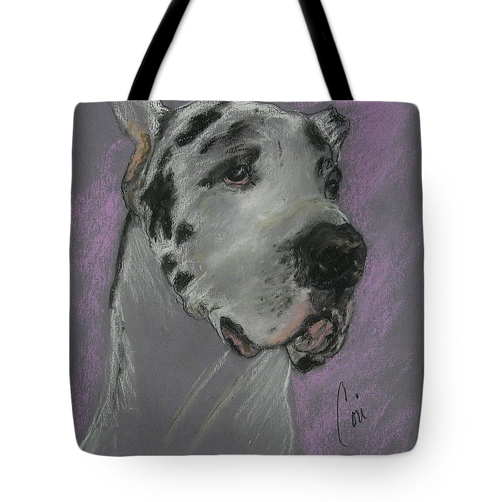 Great Dane Tote Bag featuring the drawing Bodhi's Mystique by Cori Solomon
