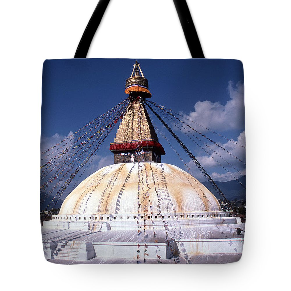 Bodhnath Stupa Tote Bag featuring the photograph Bodhnath Stupa by Patrick Klauss