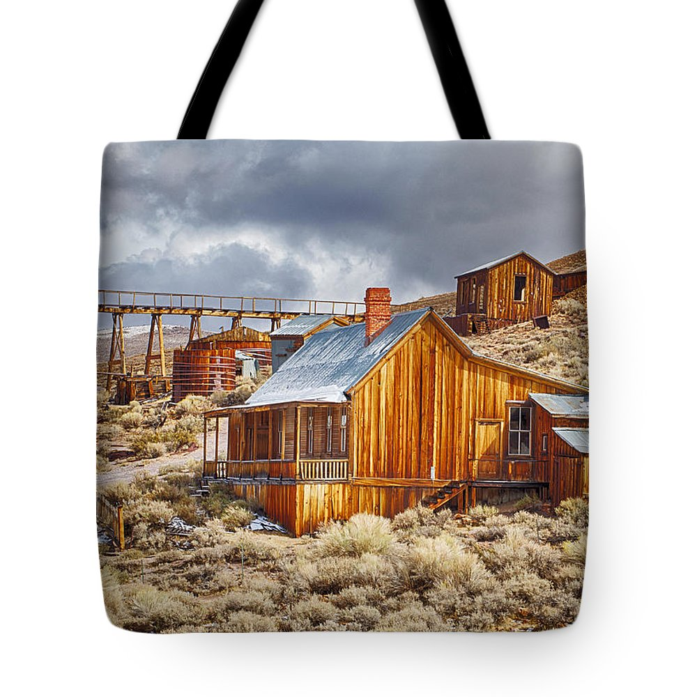 Bodie Tote Bag featuring the photograph Bodie Stamp Mill, Sunrise With A Dusting Of Snow by Kenneth Bradley
