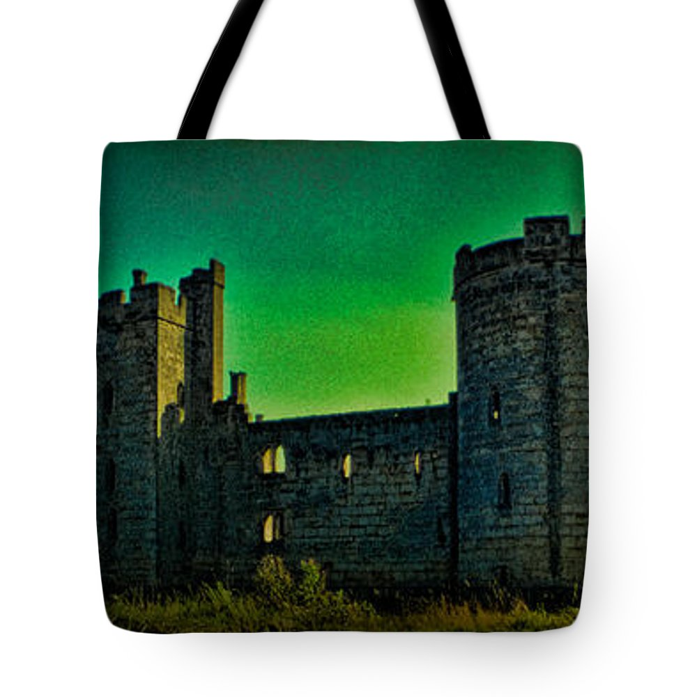 Bodium Tote Bag featuring the photograph Bodium Castle Panorama by Chris Lord
