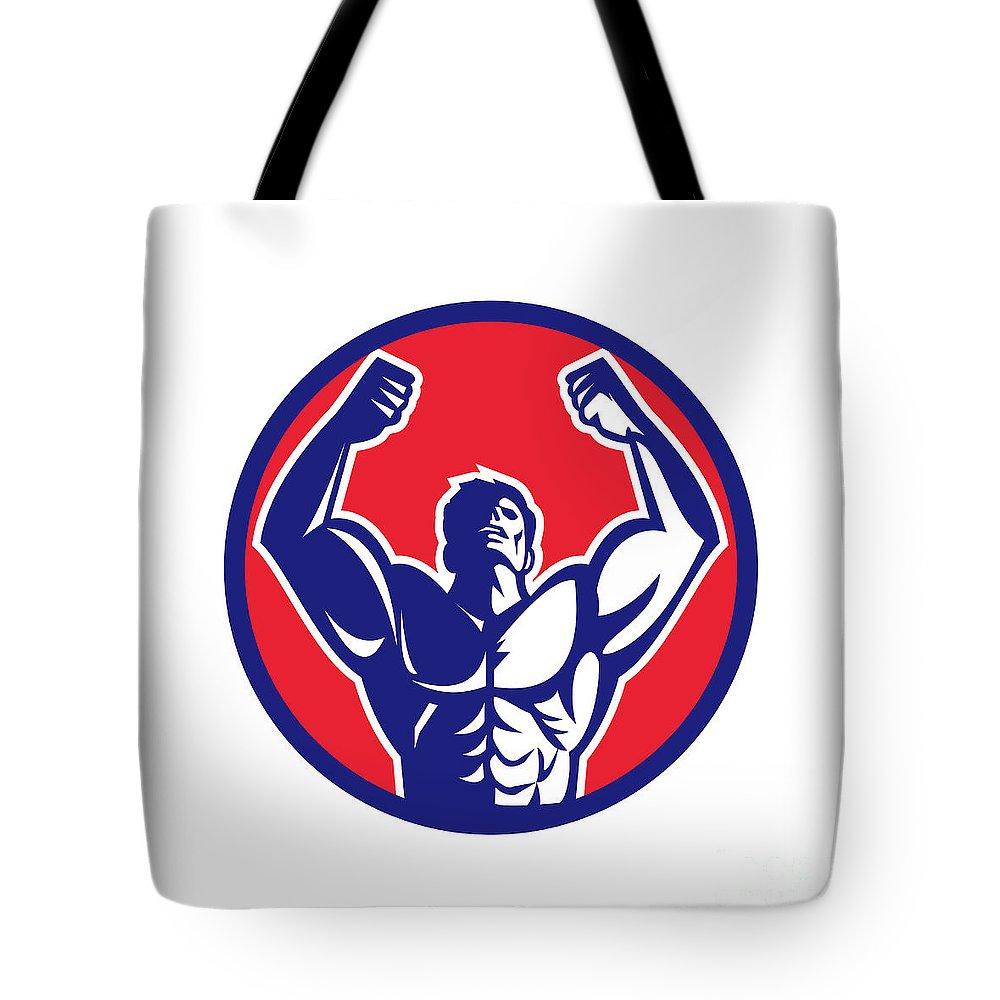 Body Builder Tote Bag featuring the digital art Body Builder Flexing Muscles Circle Retro by Aloysius Patrimonio
