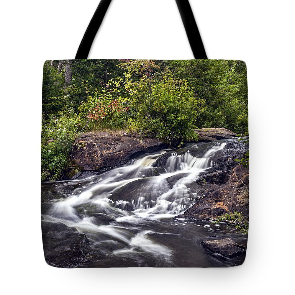 Bog River Tote Bag featuring the photograph Bog River Cascade by Ken Czworka