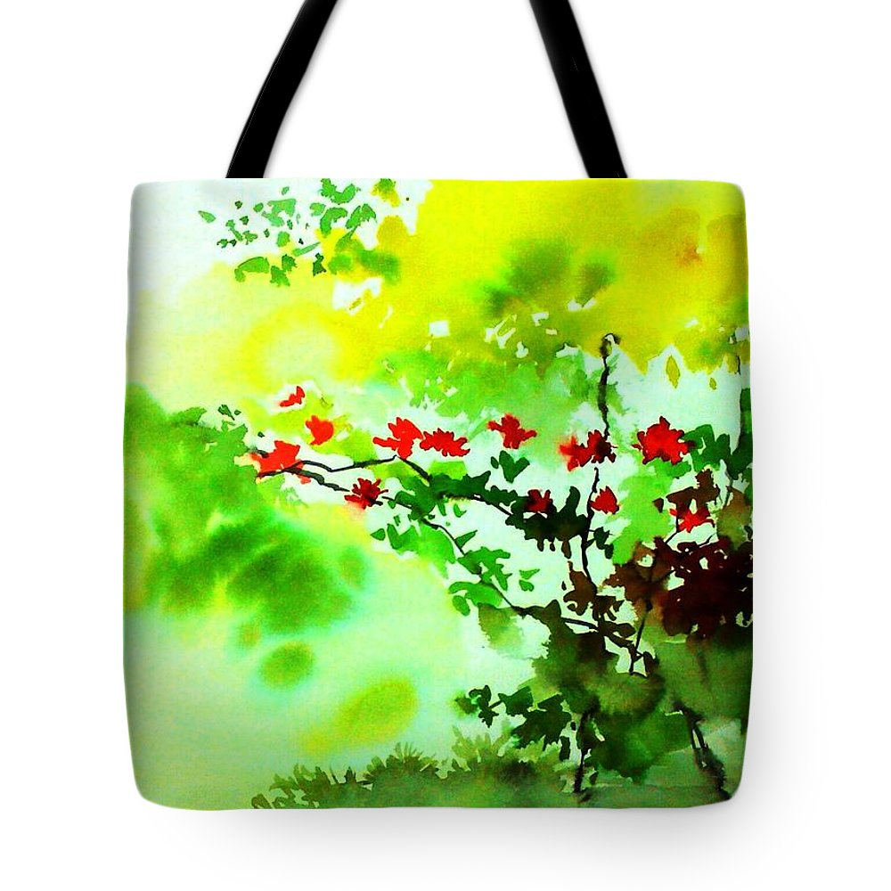 Floral Tote Bag featuring the painting Boganwel by Anil Nene