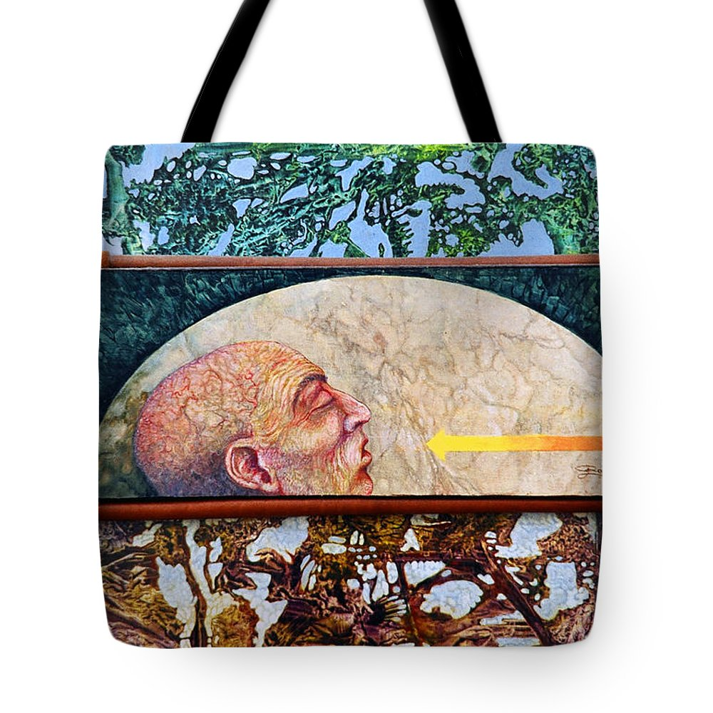 Surrealism Fantasy Fantastic Realism Decalcomania Otto Rapp The Mystic Tote Bag featuring the painting Bogomil Rising by Otto Rapp