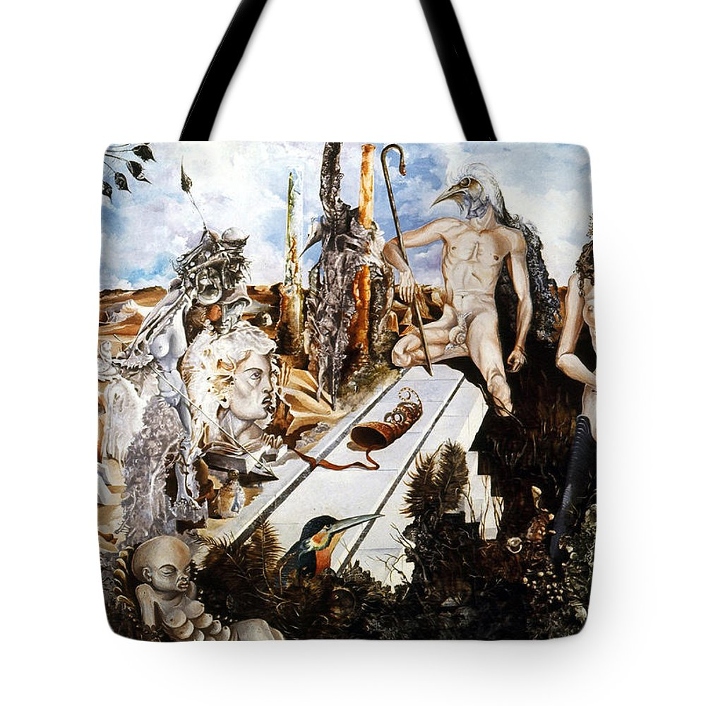 Surrealism Tote Bag featuring the painting Bogomils Court by Otto Rapp