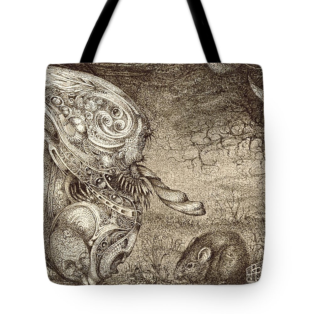 Surreal Tote Bag featuring the drawing Bogomils Mousetrap by Otto Rapp