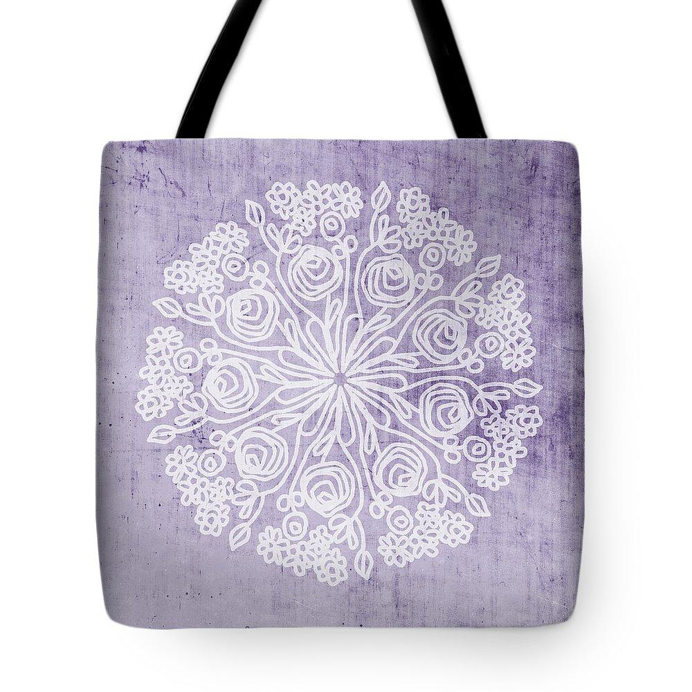 Purple Tote Bag featuring the mixed media Boho Floral Mandala 1- Art by Linda Woods by Linda Woods