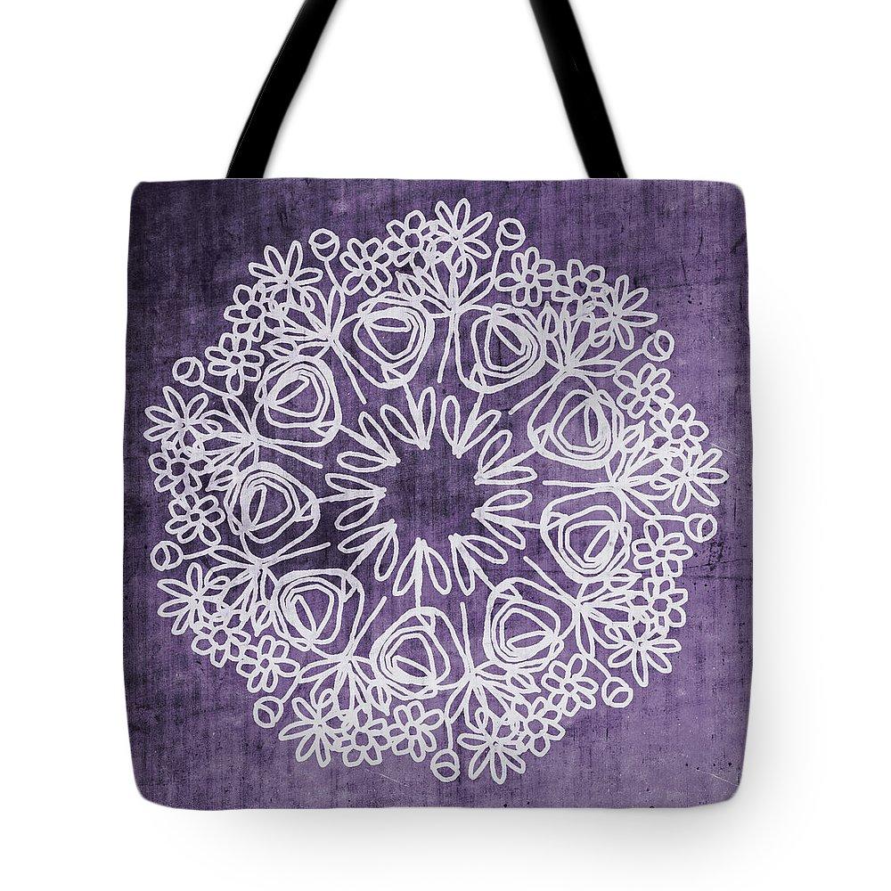 Boho Tote Bag featuring the mixed media Boho Floral Mandala 2- Art By Linda Woods by Linda Woods