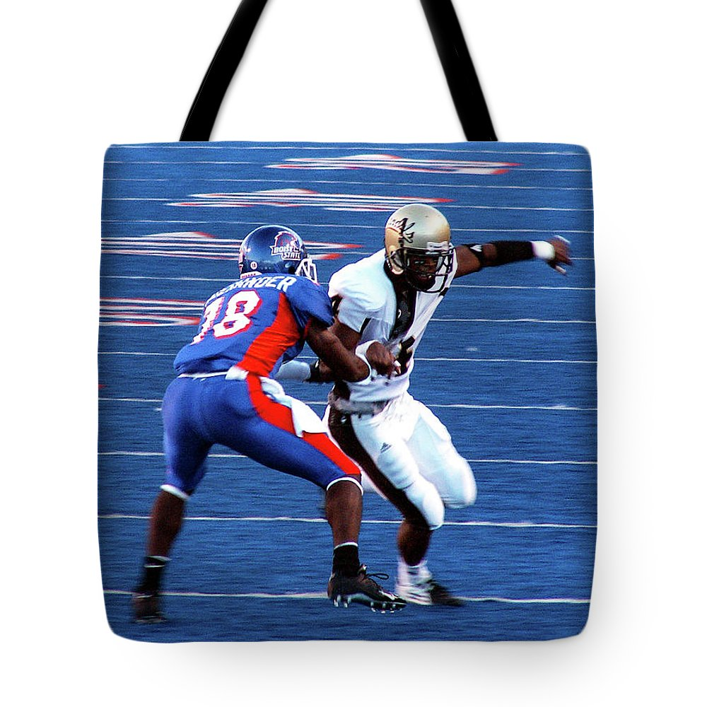 Boise State Tote Bag featuring the photograph Boise State Great Gerald Alexander by Lost River Photography