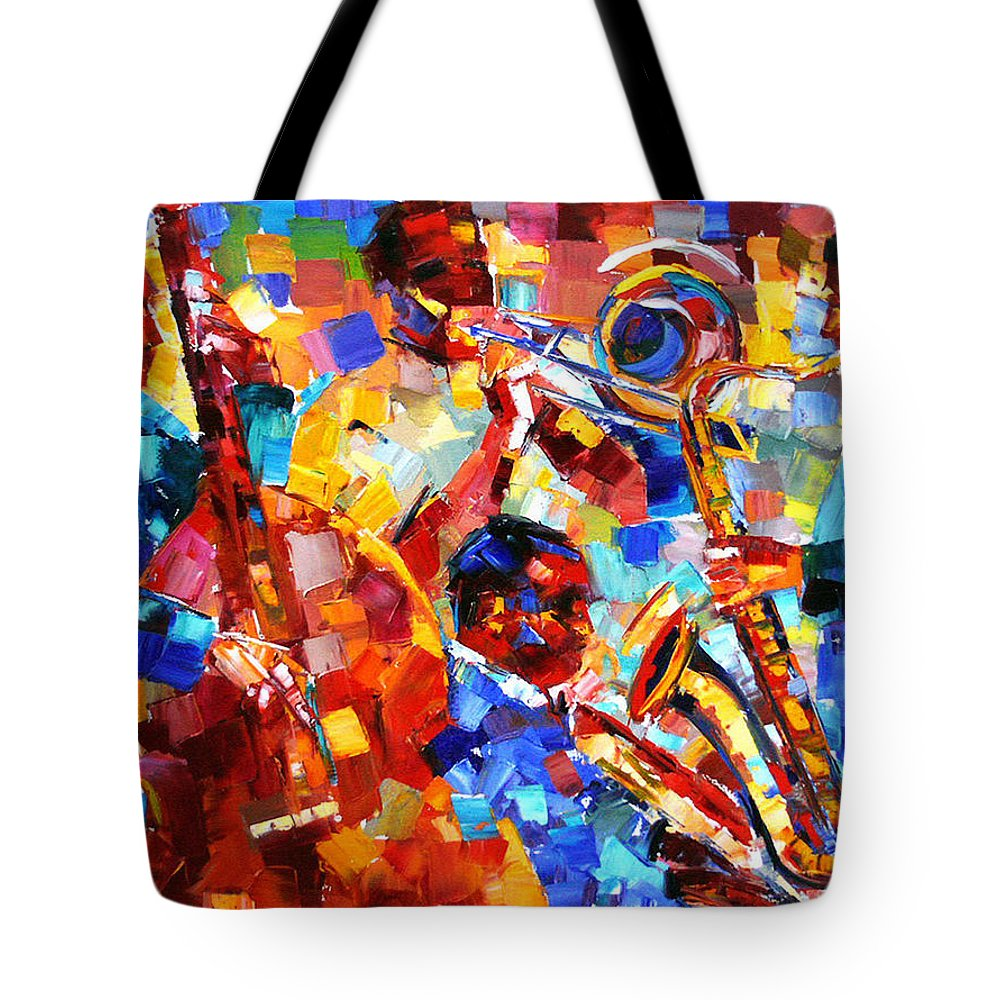 Jazz Tote Bag featuring the painting Bold Jazz Quartet by Debra Hurd