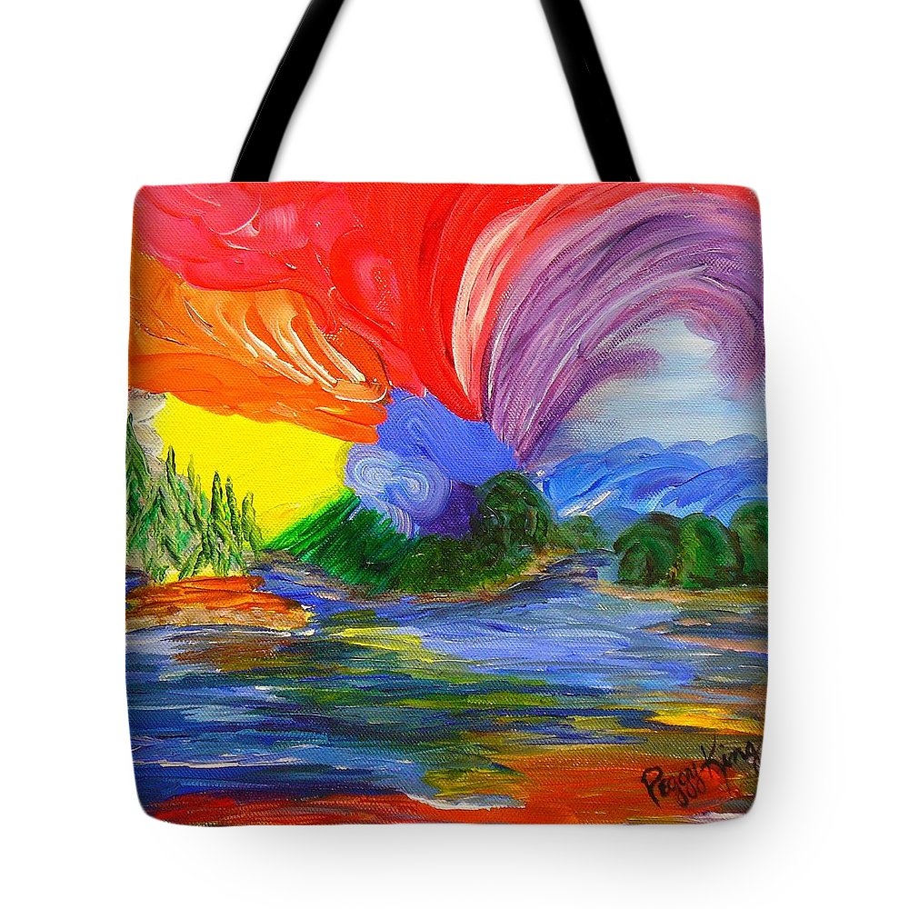 Bold Tote Bag featuring the painting Bold New Day - Or A Trip Around My Palette by Peggy King