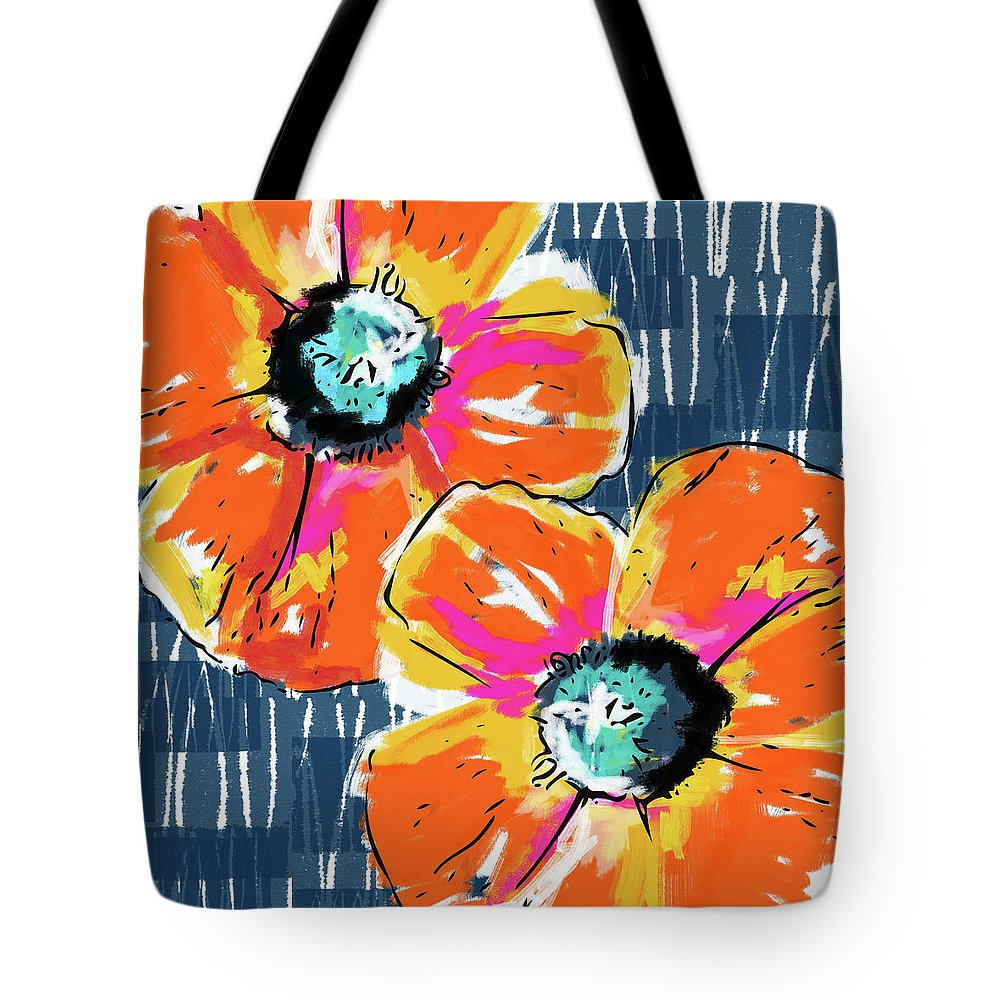 Poppies Tote Bag featuring the mixed media Bold Orange Poppies- Art By Linda Woods by Linda Woods