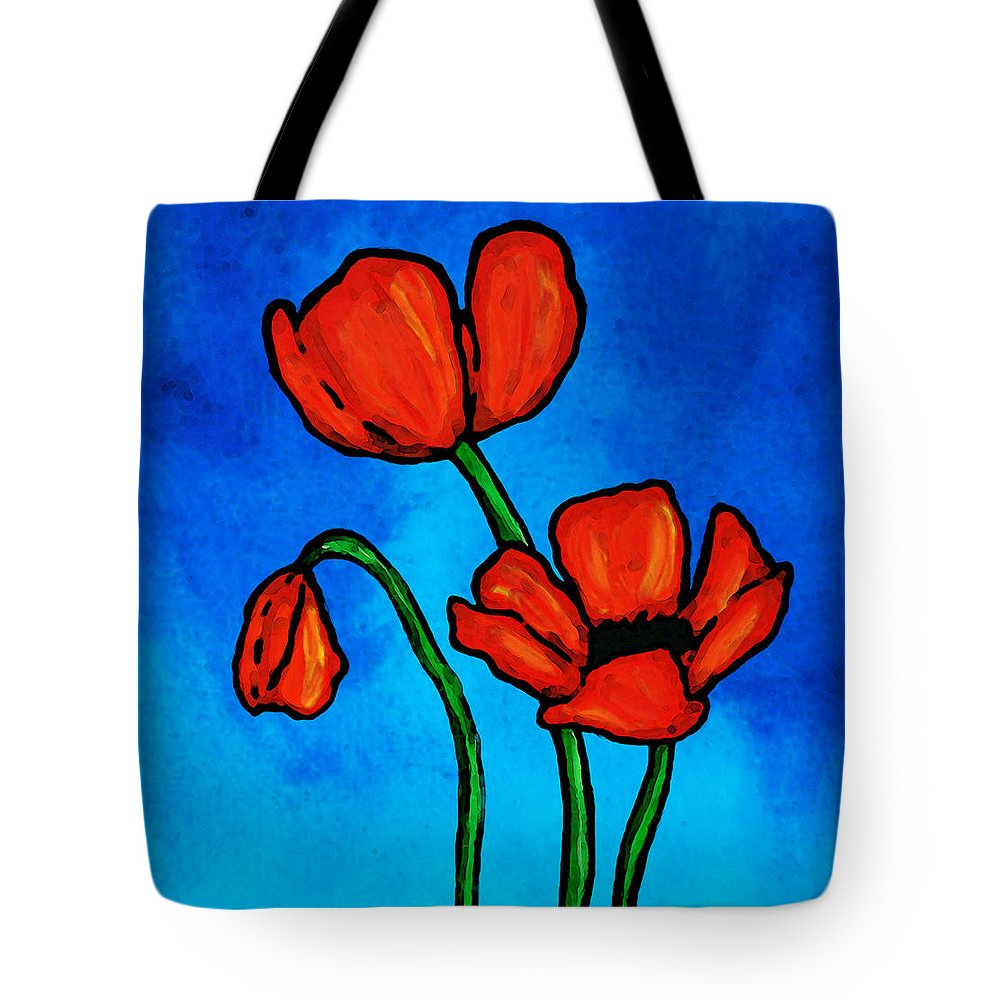 Bold red poppies colorful flowers art tote bag for sale by sharon red tote bag featuring the painting bold red poppies colorful flowers art by sharon cummings mightylinksfo