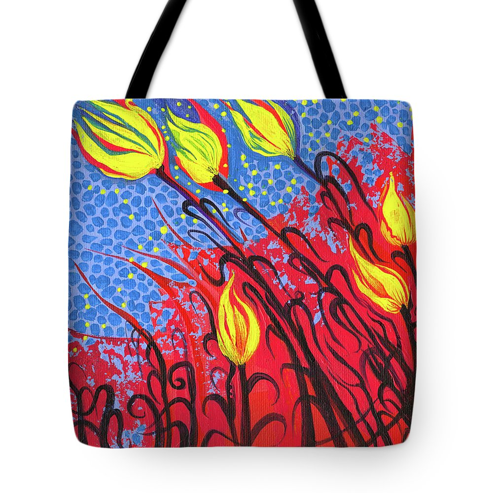 Adria Trail Tote Bag featuring the painting Bold Tulips by Adria Trail