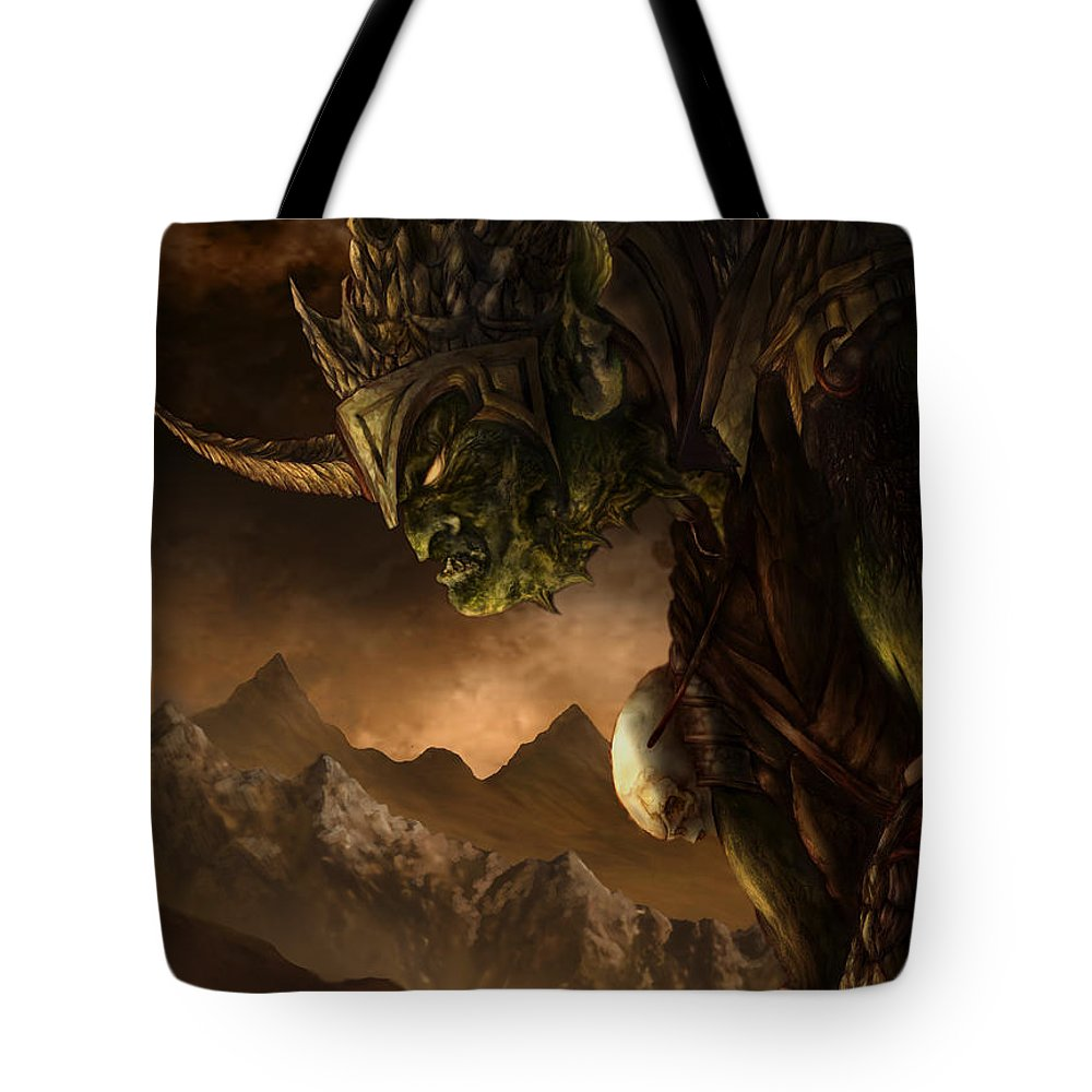 Goblin Tote Bag featuring the mixed media Bolg The Goblin King by Curtiss Shaffer