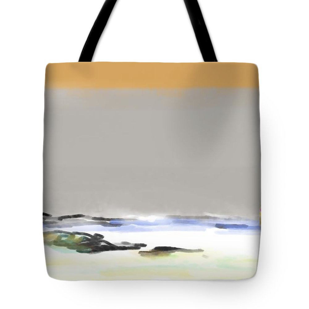 Seascape Tote Bag featuring the painting Bolinas Beach Walker by Paul Miller
