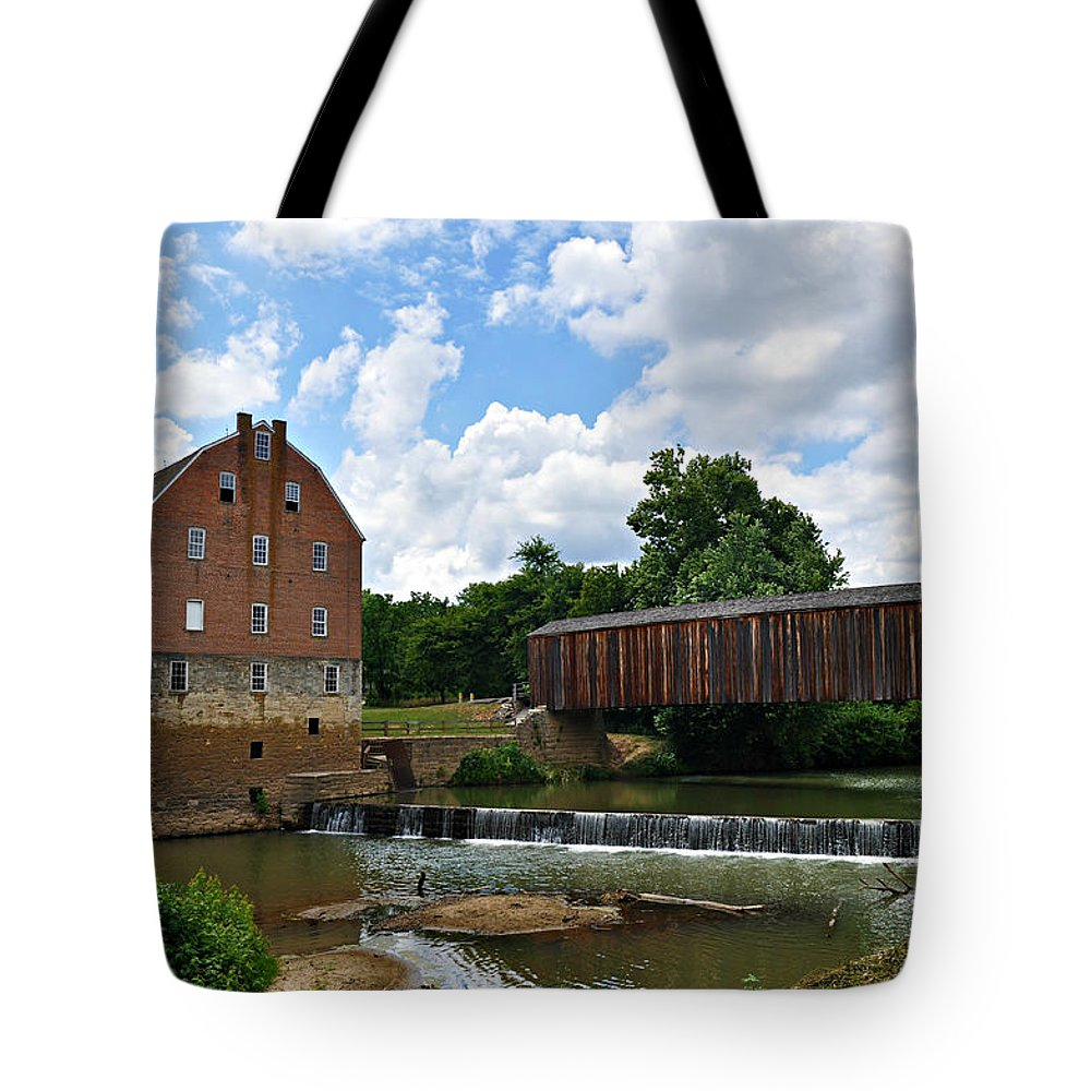 Bollinger Tote Bag featuring the photograph Bollinger Mill And Covered Bridge by Marty Koch