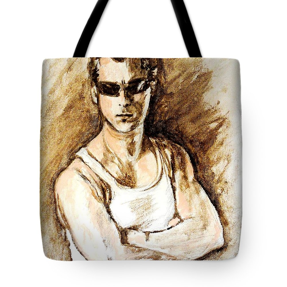 Tote Bag featuring the painting Bollywood Actor Salman Khan by Usha Shantharam