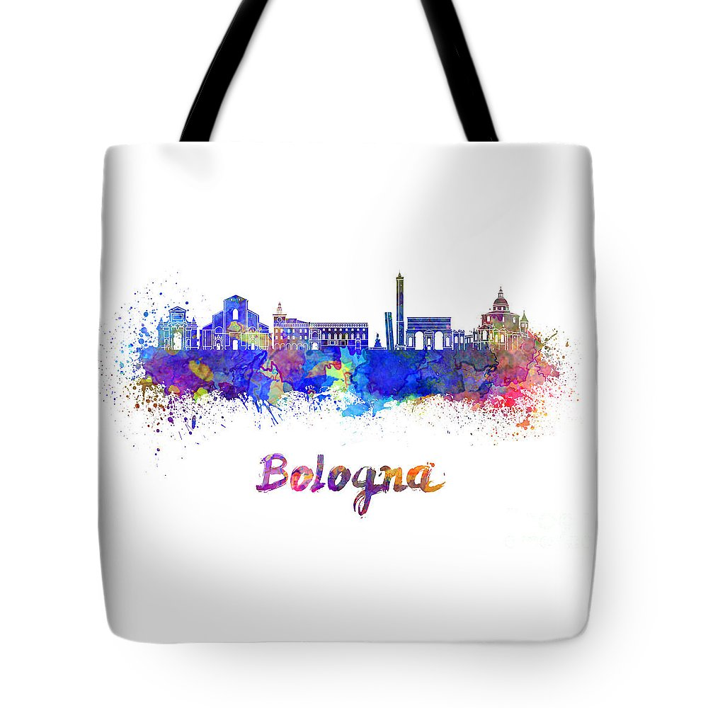 Bologna Tote Bag featuring the painting Bologna Skyline In Watercolor by Pablo Romero