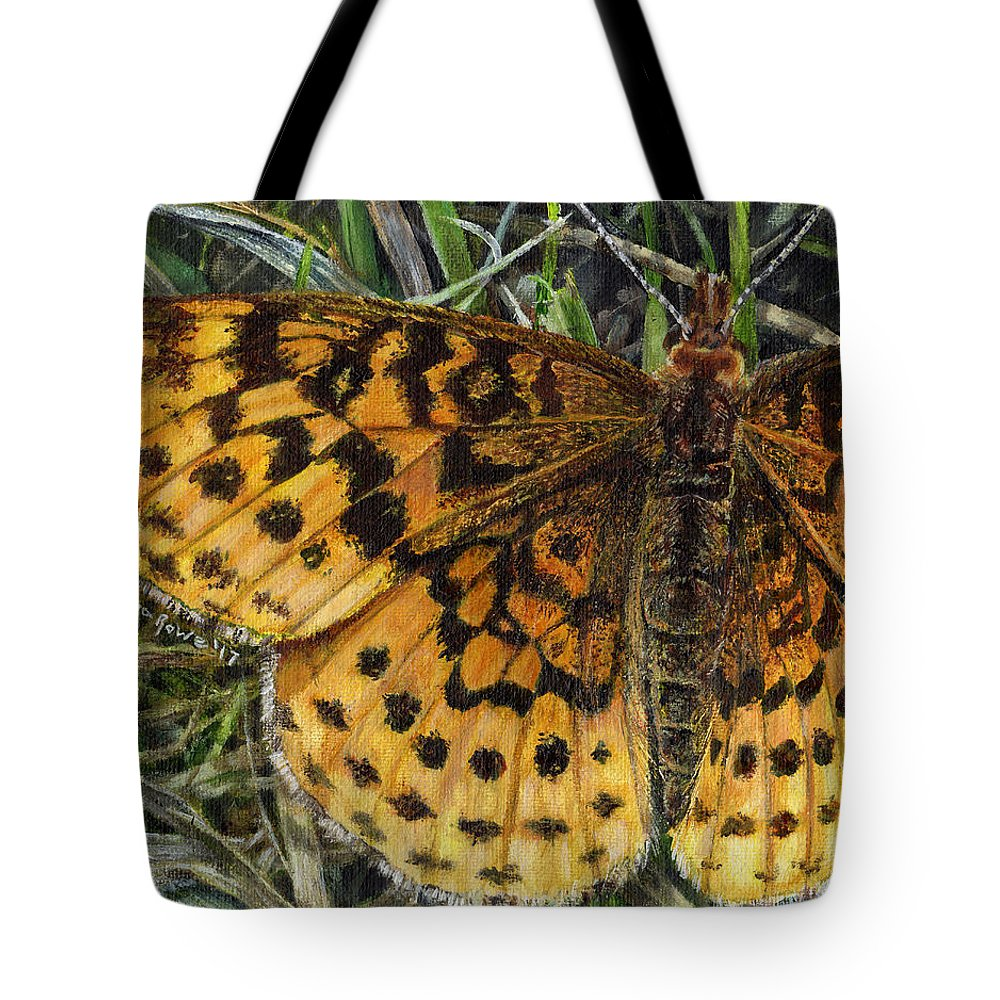 Butterfly Tote Bag featuring the painting Boloria Bellona by Shana Rowe Jackson