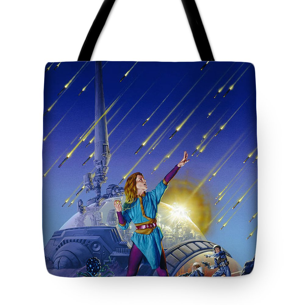 Space Tote Bag featuring the painting Bombardment by Richard Hescox