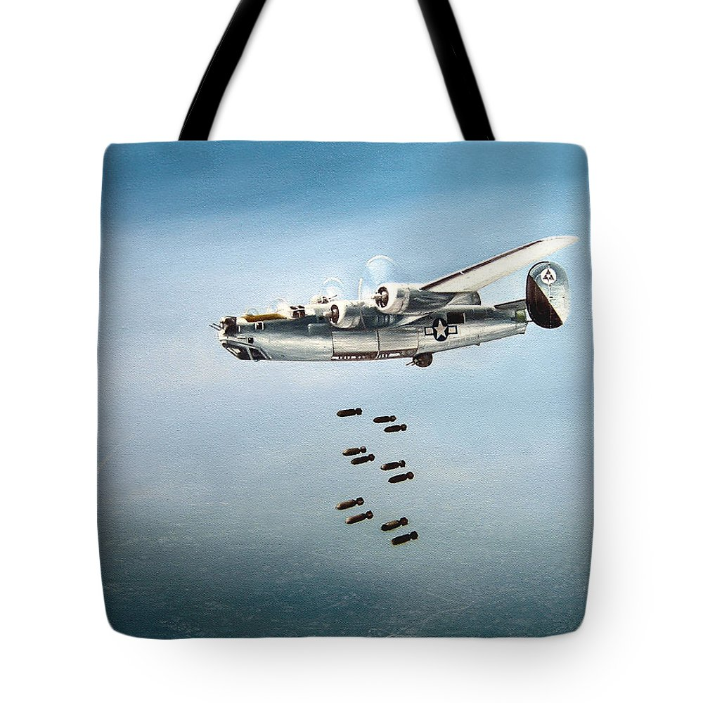 Aviation Tote Bag featuring the painting Bombs Away by Marc Stewart