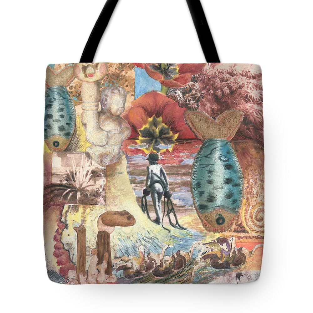 Abstract Tote Bag featuring the digital art Bombs Away by Valerie Meotti