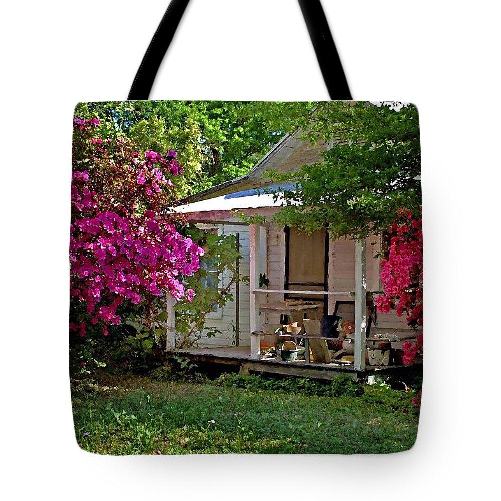 Fairhope Tote Bag featuring the digital art Bon Secour Pink Porch by Michael Thomas